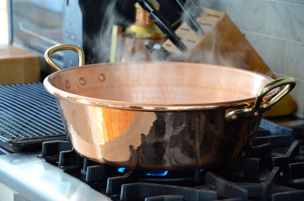 Mauviel copper jam pan.